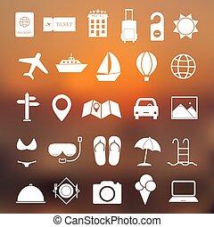semplice, viaggiare, set, vettore, icona