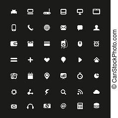semplice, web, bianco, pictog, navigazione