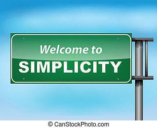 semplicità, concetto, autostrada, segno benvenuto