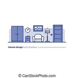 semplicità, vivente, concetto, stanza, moderno, disposizione, disegno, interno, comodo, casa, mobilia