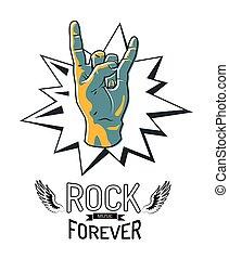 sempre, emblema, illustrazione, vettore, musica, roccia
