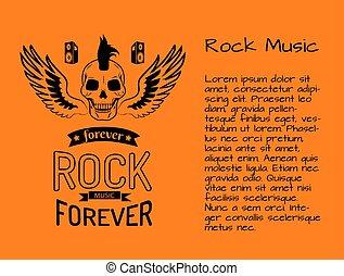 sempre, manifesto, illustrazione, vettore, musica, roccia