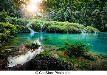 semuc, parc national, guatemala, coucher soleil, cascades, champey