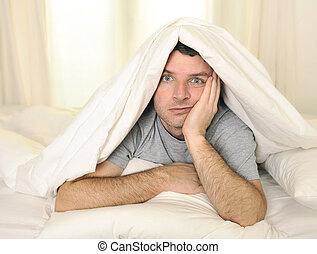 sen, cierpienie, oczy, łóżko, nieporządek, człowiek, bezsenność, otworzony