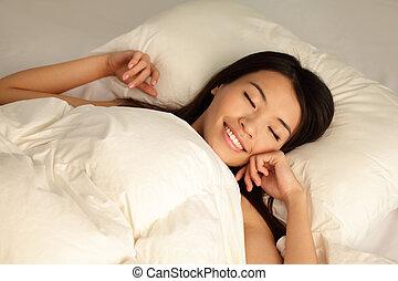 sen, dziewczyna, noc, spokojny, młody