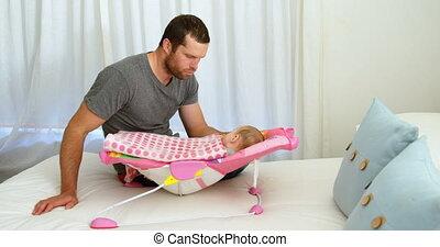 sen, jego, kładzenie, niemowlę, ojciec, 4k, łóżko