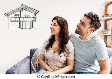 sen, právě rodinný, koupit, domů, dvojice