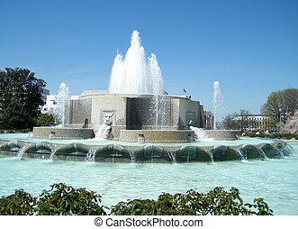 senado, fuente, más bajo, parque, washington