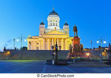 senado, noturna, quadrado, helsínquia, finland