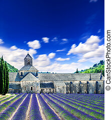 Senanque abbey with lavender field, landmark of Provence, France