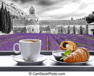 Senanque monastery against coffee with croissants in Gordes...
