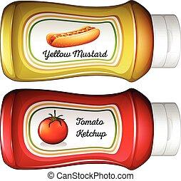 senape, bottiglia, ketchup