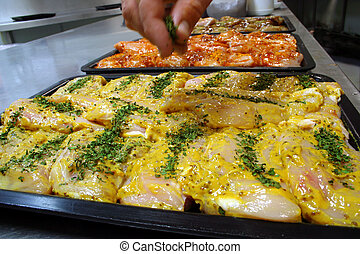 senape, pollo, riempire