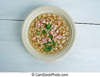 Senate bean soup - soup made with navy beans, ham hocks, and...