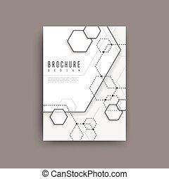 sencillez, elemento, hexágono, diseño, cartel