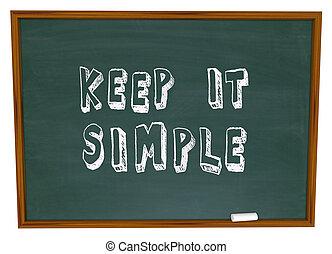 sencillez, simple, consejo, él, retener, pizarra, palabras, lección