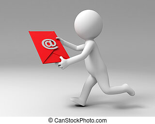 send a E-mail - A 3d people is running to send an E-mail
