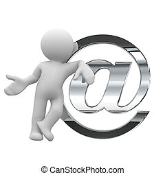 Send a mail - little human with a big silver email symbol