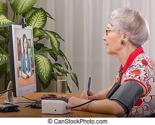 Send blood pressure via internet