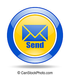 send blue and yellow web glossy round icon