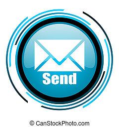 send blue circle glossy icon