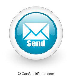send blue circle glossy web icon on white background