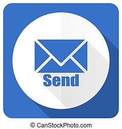 send blue flat icon post sign