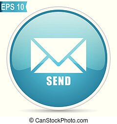 Send blue round glossy web vector icon in eps 10