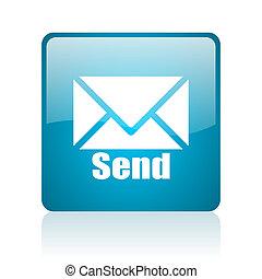 send blue square web glossy icon