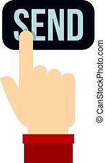 Send button and hand icon isolated
