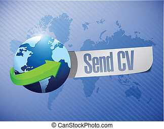 send cv message world map illustration