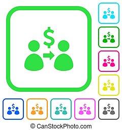 Send dollars vivid colored flat icons