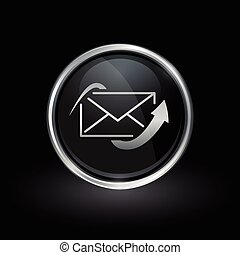 Send email icon inside round silver and black emblem