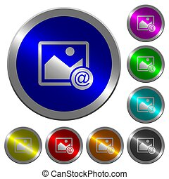 Send image as email luminous coin-like round color buttons