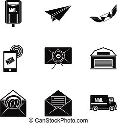 Send mail icons set, simple style