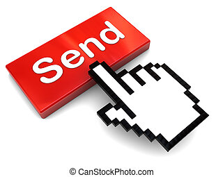 send message - 3d illustration of pushing 'send' button, e-...