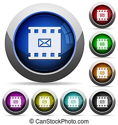 Send movie as email round glossy buttons