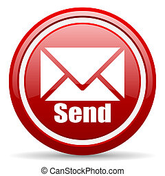 send red glossy icon on white background - red glossy circle...