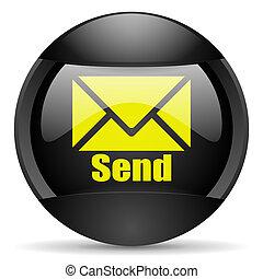 send round black web icon on white background