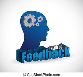 send us feedback brain sign illustration design over white