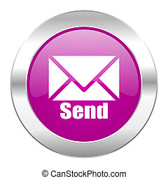 send violet circle chrome web icon isolated