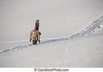 senda, nieve, trodden, snowboard, espalda, atrás, hombre ...