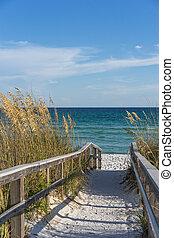 senda, playa, paraíso