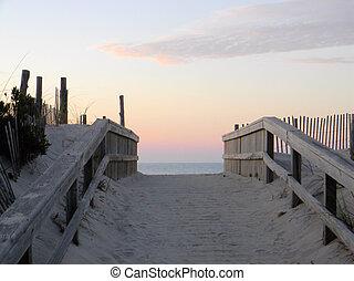 sendero, a, el, playa