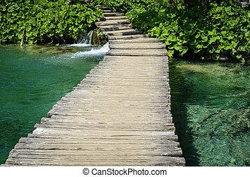 sendero de excursión de madera, en, plitvice, parque nacional, en, croacia