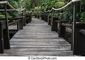 sendero de madera, encima, el, agua