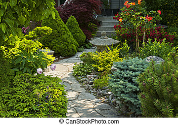 sendero jardín, con, piedra, ajardinar
