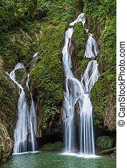 sendero, vegas, grande, waterfall., cascada, en, un,...