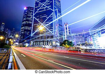 senderos, ciudad, luz de la noche