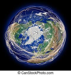 senderos, hemisferio, vuelo, norteño